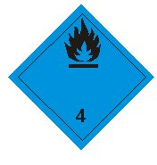 Class four substances which, in contact with water, emit flammable gases sign